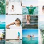maui family photographer wendy laurel's maui family session of family in water on surfboards with palm trees-1