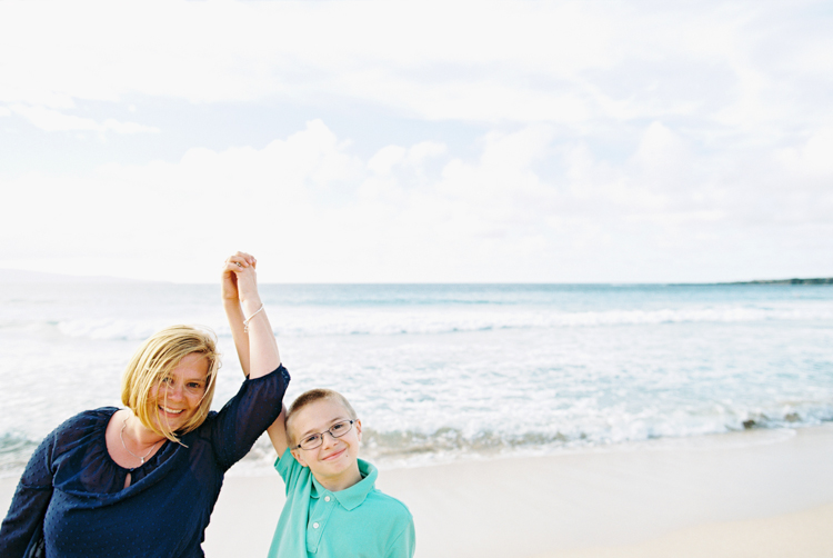 mom and son on kapalua beach by wendy laurel