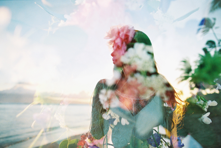 maui photographer wendy laurel's double exposure of gorgeous bride