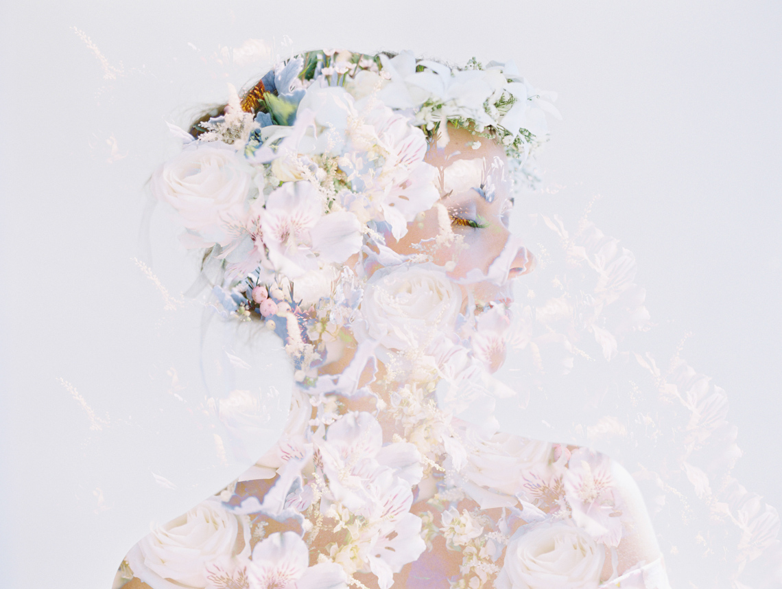 bridal portrait double exposure with bouquet by wendy laurel-1