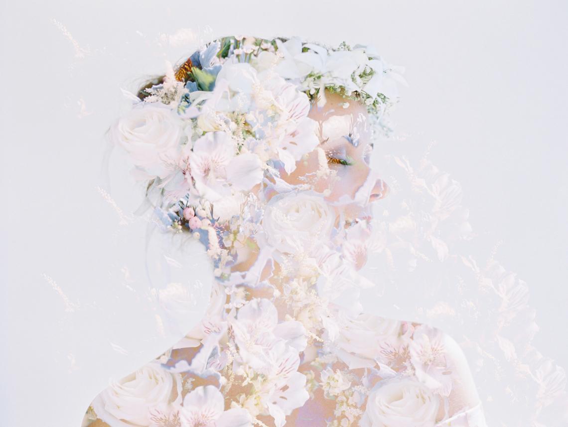 bridal portrait double exposure with bouquet by wendy laurel-1