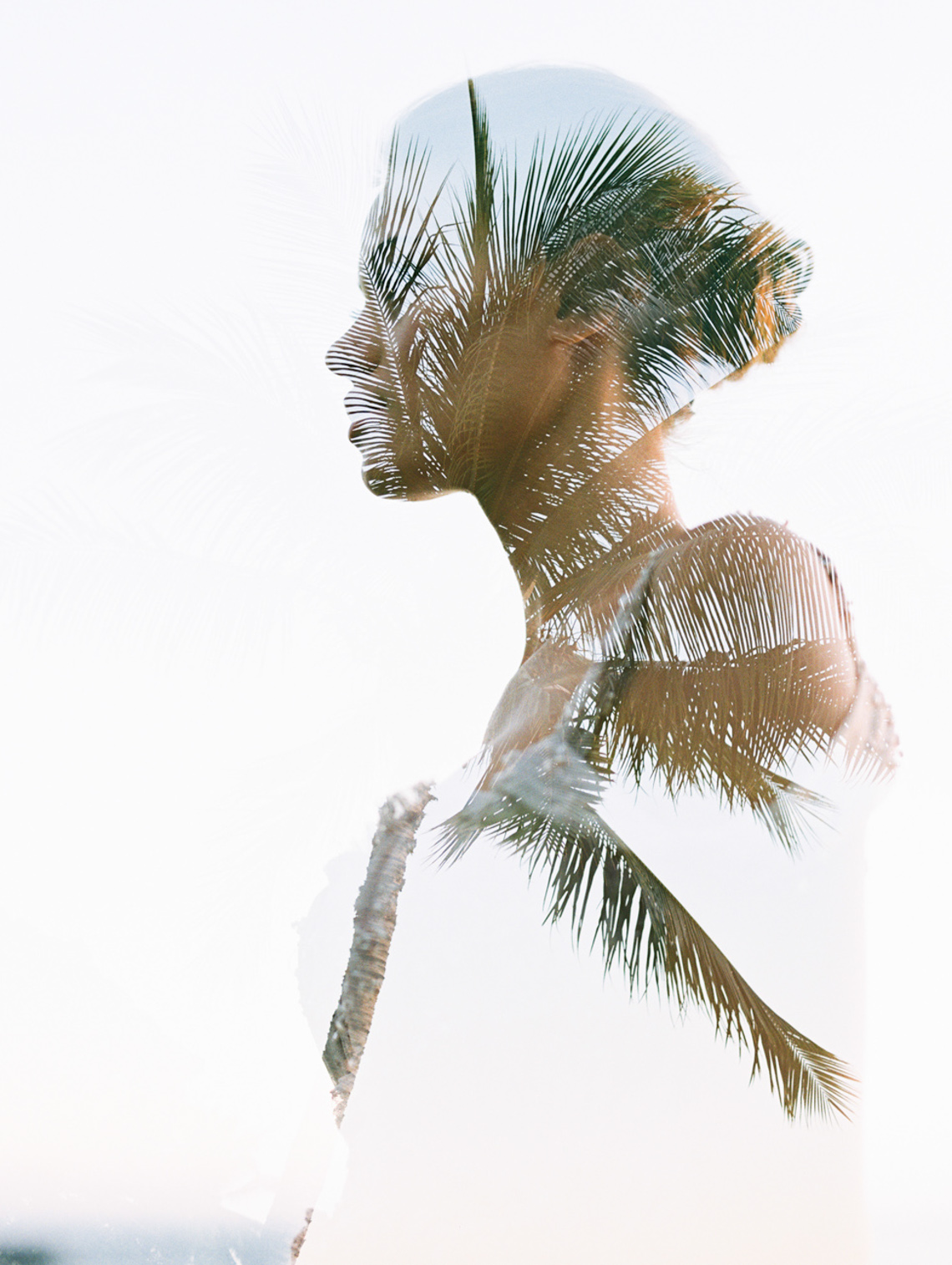 double exposure of bride with palm tree in hawaii by wendy laurel-1-2