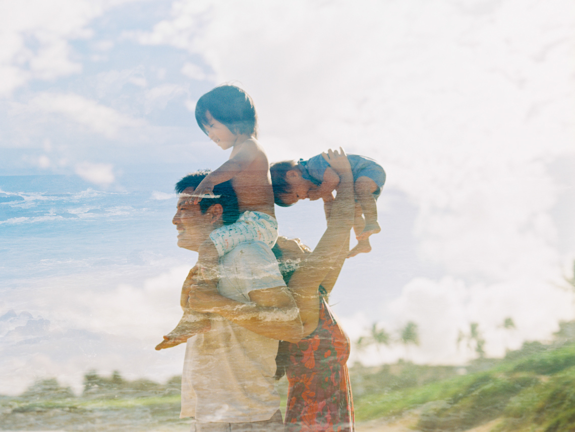 double exposure on film of family wtih ocean fill by maui photographer wendy laurel-1