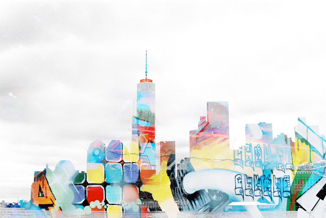 double exposure on film of nyc skyline and colorful graffitti-1