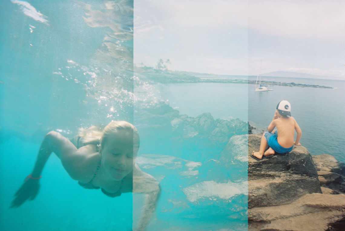 double exposure on film of overlapping frames of girl in water and boy on rock-1