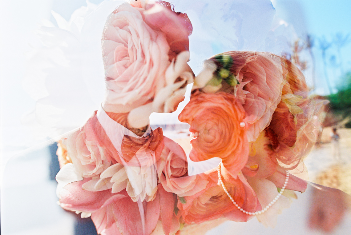 double exposure on film of wedding couple and flowers by photographer wendy laurel-1