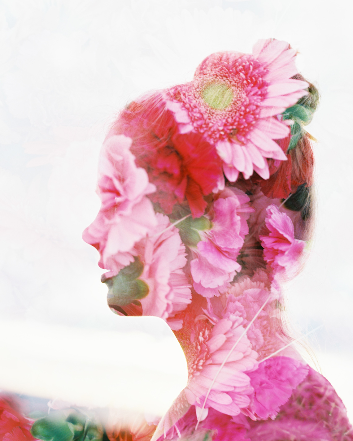 double exposure on film with pink flowers and girl with bun on head by wendy laurel-1e exposure on film with pink flowers and girl with bun on head by wendy laurel-1