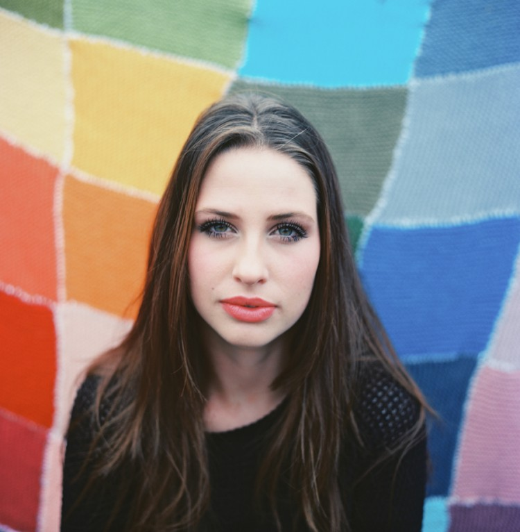 portrait of girl with rainbow quilt on rollei with ektar film by wendy laurel-1