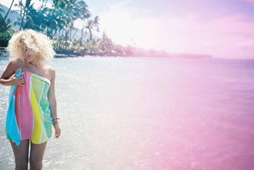 girl in towel series like mario testino by maui photographer wendy laurel