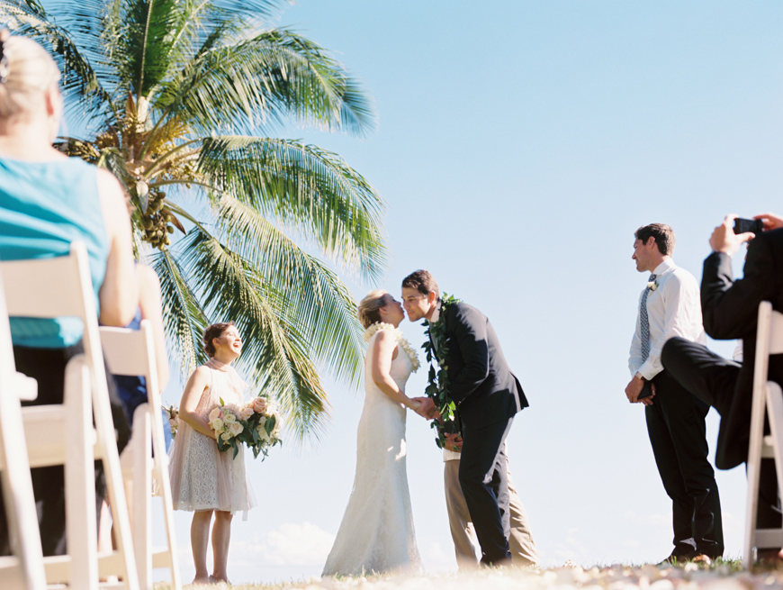 the kiss at maui wedding ceremony at olowalu plantation house
