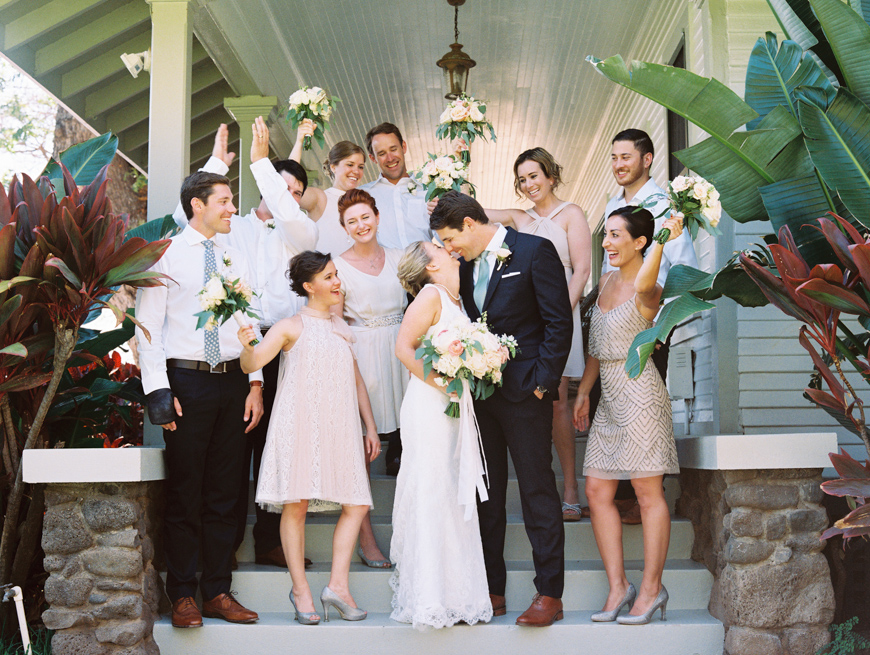 neutral bridal party photo at olowalu plantation house on maui
