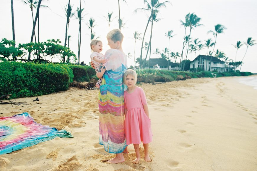 film photography of family on the beach portraits on poipu beach kauai by maui photographer wendy laurel