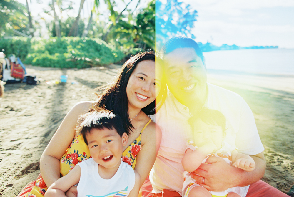 sunrise colors maui family photography session at lahaina baby beach on kodak film by maui photographer wendy laurel