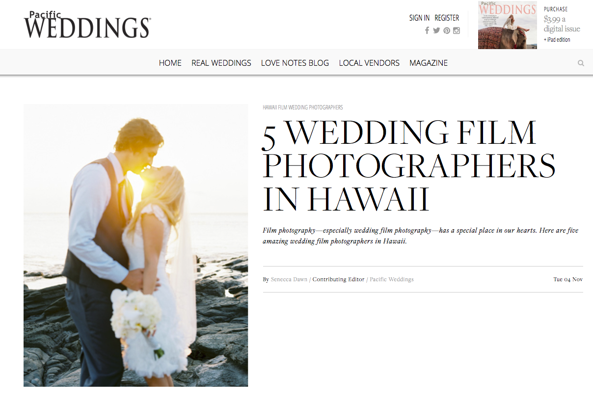 Named one of Top 5 Wedding Film Photographers in Hawaii