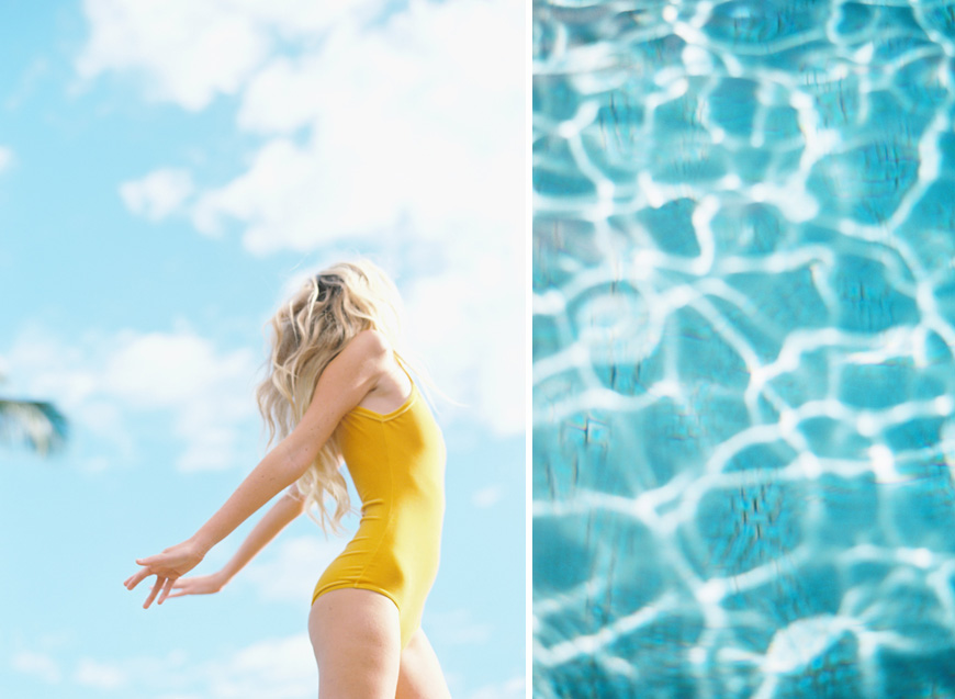 girl in yellow against blue sky by wendy laurel maui wedding photographer