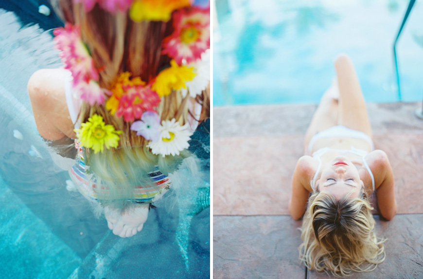 poolside flowers in hair maui wedding photography