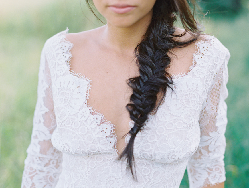fishtail braid with claire pettibone dress