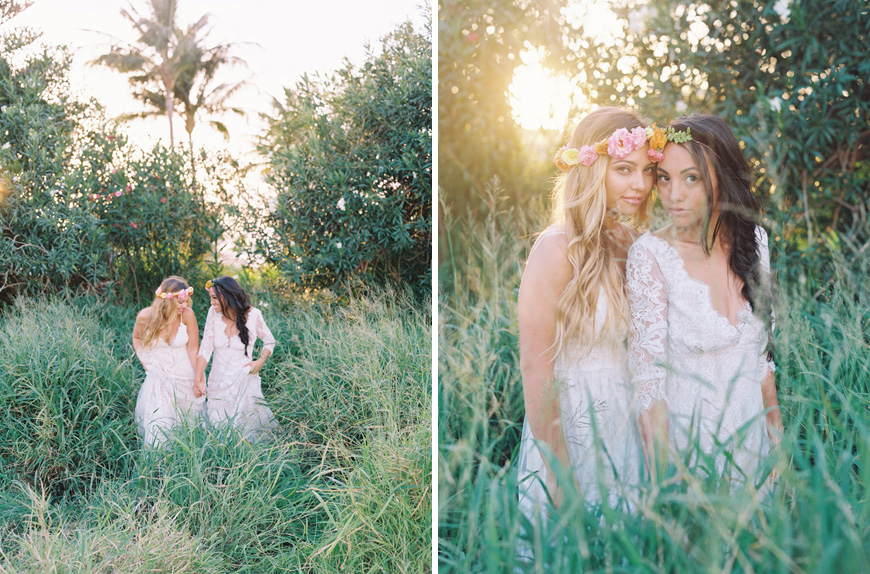 two brides in sunlit fields by maui wedding photographer wendy laurel
