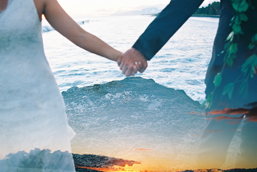 holding hands double exposure by maui photogrpaher wendy laurel