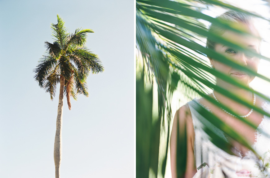 olowalu plantation wedding image of bride and palm leaf