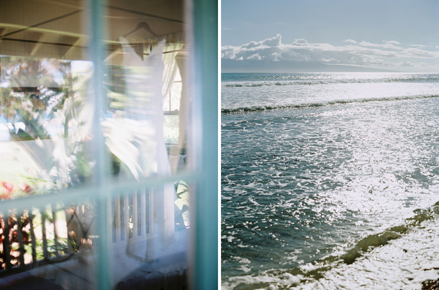 bridal gown image through window on maui by wendy laurel