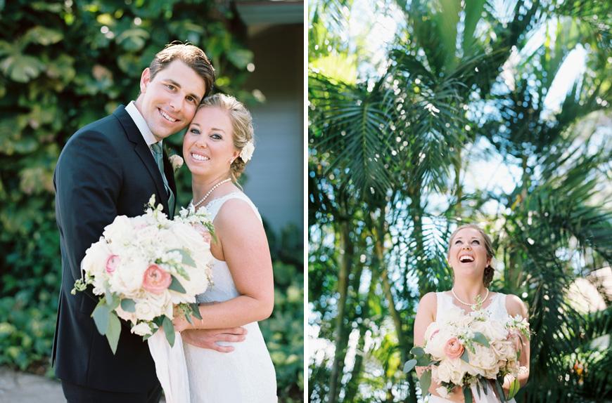 elegant bride and groom at oloalu plantation house wedding on maui