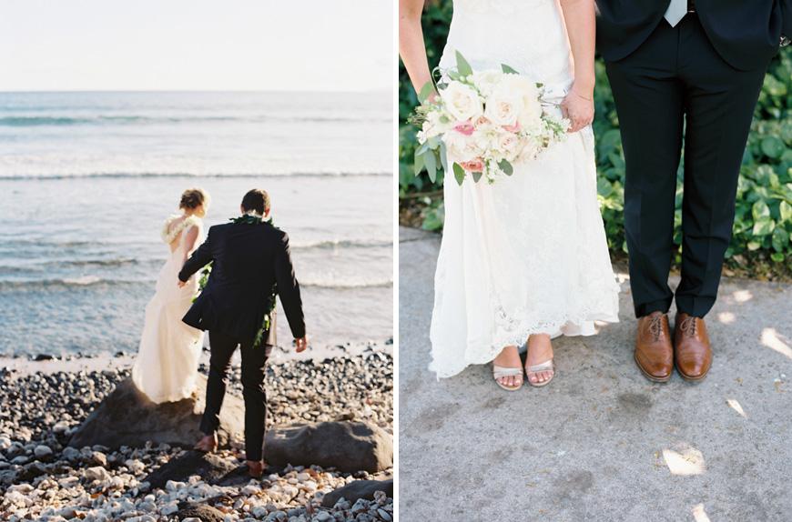 bride and groom by maui ocean