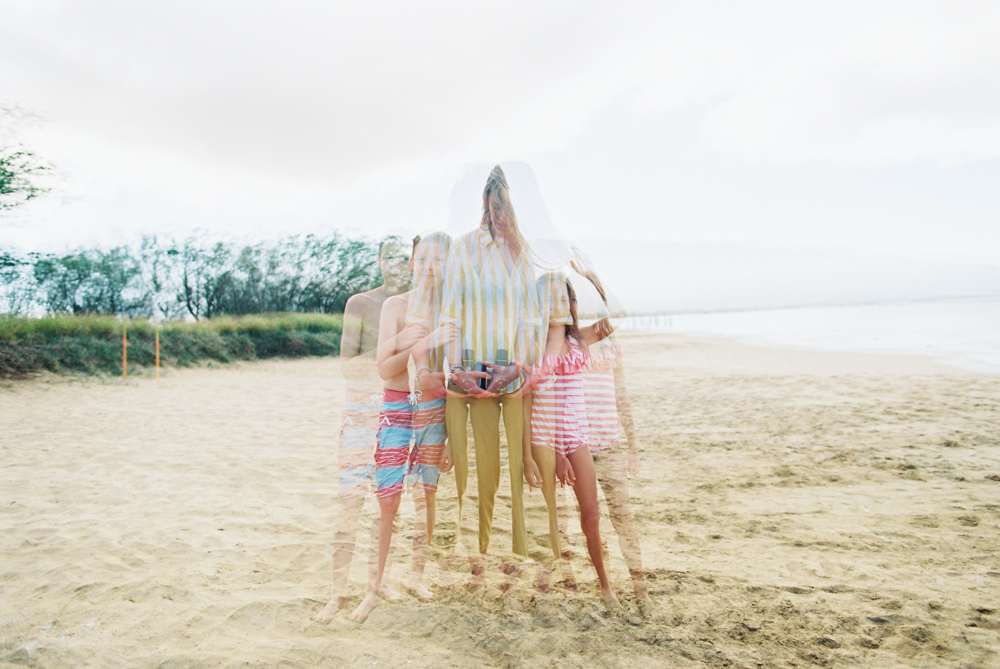 double exposure of family at beach on maui