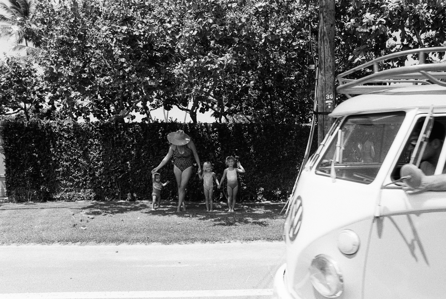 vw van and family photograph in hawaii